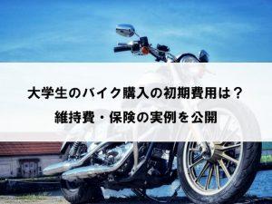 大学生のバイク購入の初期費用は、もろもろで50万円程度でした。